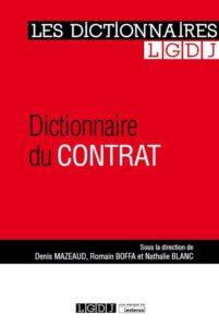 Dictionnaire du contrat Nathalie Blanc, Romain Boffa, Denis Mazeaud